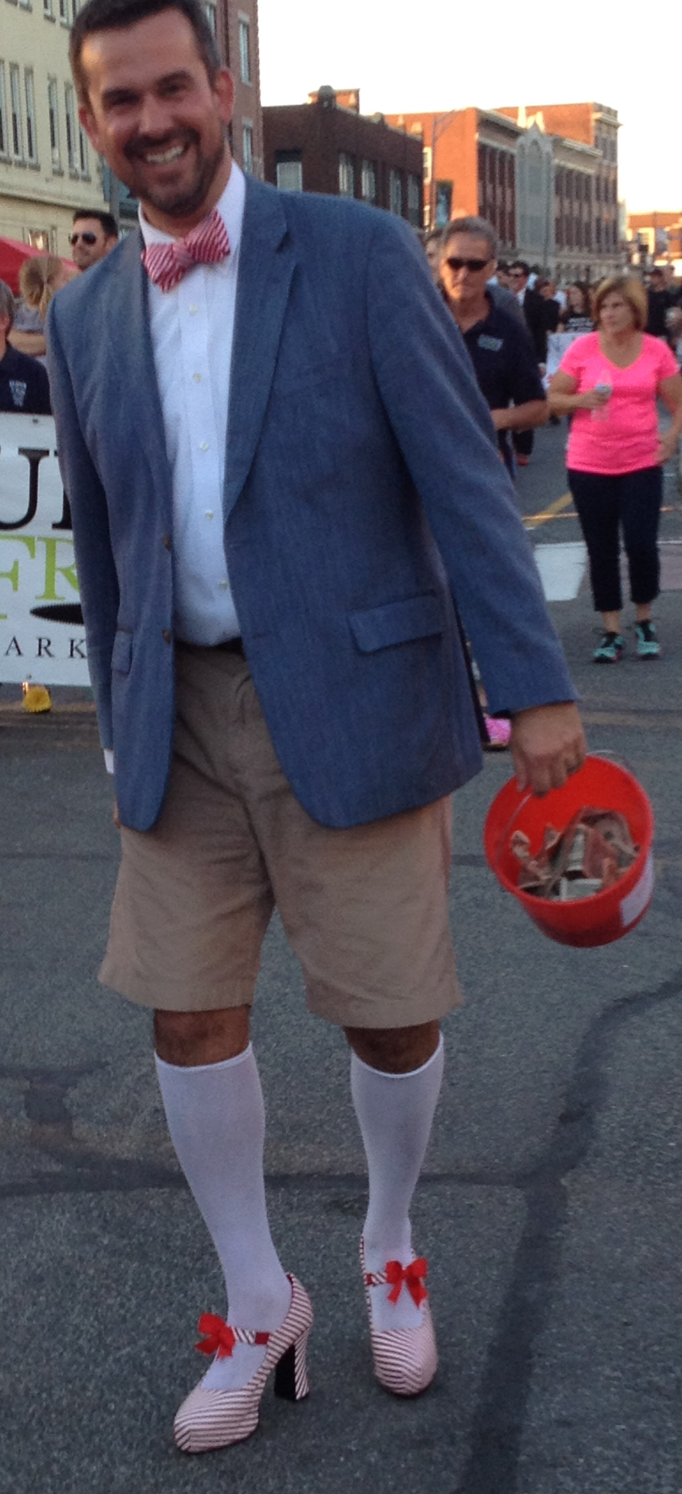 Walk a Mile 2015 walker with snazzy socks and shoes