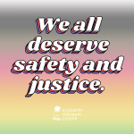 """""""We all deserve safety and justice"""" written over the progress pride colors"""